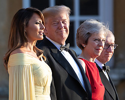 **2018 Pictures of the year by London News Pictures**<br /> © Licensed to London News Pictures . 12/07/2018. Blenheim, UK. US President Donald Trump and his wife Melania meet British Prime Minister Theresa May and her husband Philip at Blenheim Palace , ahead of a black tie dinner , on the first day of a visit by the American President to the UK . Photo credit: Joel Goodman/LNP