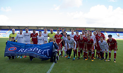 BIRKENHEAD, ENGLAND - Wednesday, September 13, 2017: Liverpool and Sevilla players pose for a pre-match photograph with the UEFA Respect banner ahead of the UEFA Youth League Group E match between Liverpool and Sevilla at Prenton Park. (Pic by Paul Greenwood/Propaganda)