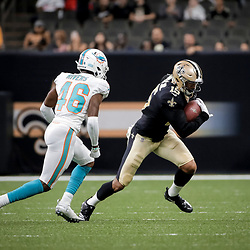 Aug 29, 2019; New Orleans, LA, USA;New Orleans Saints wide receiver Simmie Cobbs (15) breaks away from Miami Dolphins cornerback David Rivers (46) during the second half of a preseason game at the Mercedes-Benz Superdome. Mandatory Credit: Derick E. Hingle-USA TODAY Sports