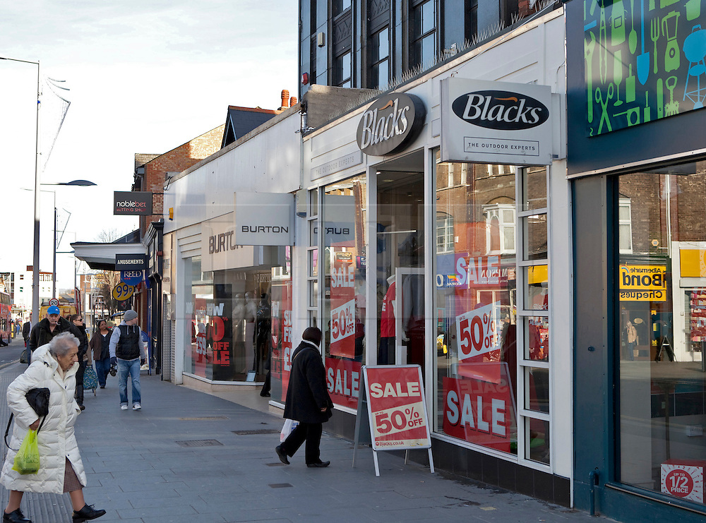 © Licensed to London News Pictures. 06/01/2012. London, U.K.. .Blacks outdoor clothing store have announced that the company will go into administration. This branch in Harrow, North London, shows huge sales and reductions in prices..Photo credit : Rich Bowen/LNP