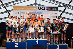 Top three: Boels Dolmans, Cervélo Bigla and CANYON//SRAM Racing at the Crescent Vargarda - a 42.5 km team time trial, starting and finishing in Vargarda on August 11, 2017, in Vastra Gotaland, Sweden. (Photo by Sean Robinson/Velofocus.com)