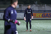 AFC Wimbledon goalkeeper Aaron Ramsdale (35) and AFC Wimbledon goalkeeper Joe McDonnell (24) warming up during the EFL Sky Bet League 1 match between AFC Wimbledon and Fleetwood Town at the Cherry Red Records Stadium, Kingston, England on 22 January 2019.