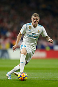 Real Madrid's German midfielder Toni Kroos runs with the ball during the Spanish championship Liga football match between Atletico Madrid and Real Madrid on November 18, 2017 at the Wanda Metropolitano in Madrid, Spain - Photo Benjamin Cremel / ProSportsImages / DPPI