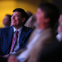 David Rumbarger, President and CEO of the Community Develpoment Foundation, gets a laugh during host Judd Wilson's opening remarks at the Community Develpoment Foundation's 68th Annual Meeting and Report Thursday night at the BancorpSouth Arena in Tupelo.