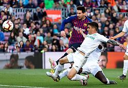 12 th, May  2019, Camp Nou, Barcelona, Spain. ..La Liga, partido entre el FC Barcelona y el Getafe CF...(10) Messi en el momento del segundo gol del partido ante la presencia de Djene (2) y M.Arambarri (18)...© Joan Gosa 2019/Xinhua 2019. (Credit Image: © Joan Gosa/Xinhua via ZUMA Wire)