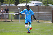 Peacehaven Goalkeeper Allied Secko during the Pre-Season Friendly match between Peacehaven & Telscombe and Luton Town at the Peacehaven Football Club, Peacehaven, United Kingdom on 18 July 2015. Photo by Phil Duncan.