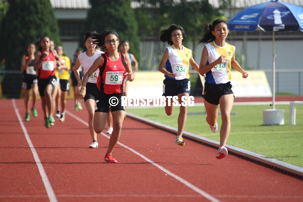 Choa Chu Kang Sports Complex, Monday, April 15, 2013 &mdash; Arissa Rashid of Nanyang Girls&rsquo; High ended off her season with a bang, bagging the C Division 800m gold in a time of 2 minutes 35.85 seconds at the 54th National Schools Track and Field Championships. She narrowly missed out on the record of 2:35.76 by 0.09s, set by Lossini D/O Jeyapandiyen, then of Singapore Sports School, in 2004. <br /> <br /> Story: http://www.redsports.sg/2013/04/22/c-div-girls-800m-arissa-rashid-nanyang-girls-high/