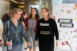 EDITORIAL USE ONLY<br /> Yvette Cooper MP, Chair of the Home Affairs Select Committee, joins Susan Wojcicki (right), CEO YouTube, at a YouTube Internet Citizens workshop, which aims to tackle online hate and fake news, at the Google Academy in Victoria, London.