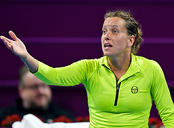 DOHA, Feb. 15, 2019  Barbora Strycova of the Czech Republic reacts during the women's singles quarterfinal between Barbora Strycova of the Czech Republic and Angelique Kerber of Germany at the 2019 WTA Qatar Open in Doha, Qatar, Feb. 14, 2019. Barbora Strycova lost 1-2. (Credit Image: © Nikku/Xinhua via ZUMA Wire)