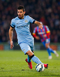 Sergio Aguero of Manchester City in action - Photo mandatory by-line: Rogan Thomson/JMP - 07966 386802 - 06/04/2015 - SPORT - FOOTBALL - London, England - Selhurst Park - Crystal Palace v Manchester City - Barclays Premier League.