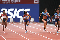 February 7, 2018 - Paris, Ile-de-France, France - From left to right : Remona Burchell of Jamaica, Marie-Josée TaLou of Ivory Coast, Mujinga Kambudji of Switzerland, Carolle Zahi of France compete in 60m during the Athletics Indoor Meeting of Paris 2018, at AccorHotels Arena (Bercy) in Paris, France on February 7, 2018. (Credit Image: © Michel Stoupak/NurPhoto via ZUMA Press)