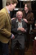 Charles Aspray, Lord Montagu and  Patrick O'Neill. Gumball 3000. Pre-race  dinner hosted by Armani and Maximillion. Ubon, Canary Wharf. London. 23 April 2001.