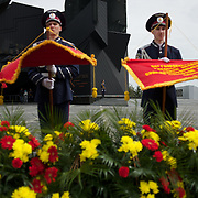 Ukrainian policemen take part at a ceremony that marks 69 years since the Soviets defeated the Nazis, at the War Memorial in central Donetsk, amid tensions over the referendum for autonomy of the region to be held over the weekend.