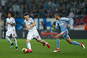 Olympique de Marseille's Argentinian forward Lucas Ocampos runs with the ball during the French Championship Ligue 1 football match between Olympique de Marseille and AS Monaco on January 28, 2018 at the Orange Velodrome stadium in Marseille, France - Photo Benjamin Cremel / ProSportsImages / DPPI