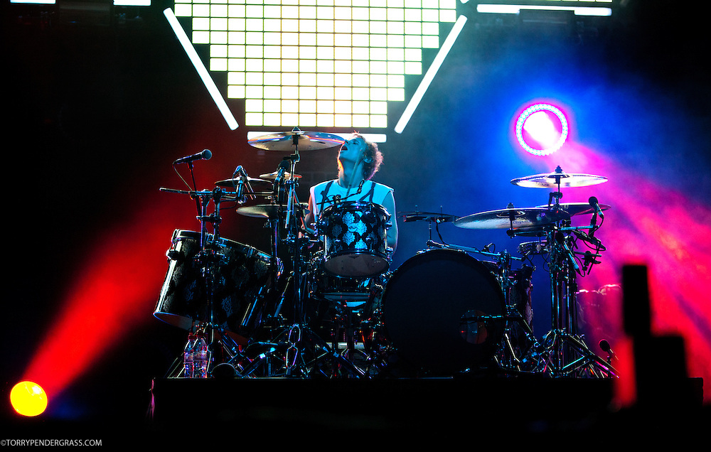 Dominic Howard of Muse performs during the L.A. Rising Festival at L.A. Coliseum July 30 2011