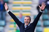 DEN HAAG, ADO Den Haag - Vitesse, voetbal Eredivisie, seizoen 2013-2014, 02-10-2013, Kyocera Stadion, ADO Den Haag coach Maurice Steijn is blij met de overwining.