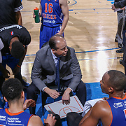 Westchester Knicks Head Coach MIKE MILLER huddles with his players during a time out in the second half of a NBA D-league regular season basketball game between the Delaware 87ers and the Westchester Knicks  Saturday Dec, 26, 2015 at The Bob Carpenter Sports Convocation Center in Newark, DEL