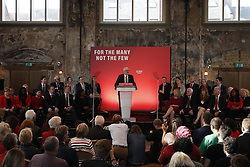 © Licensed to London News Pictures. 31/10/2019. London, UK. Members of the Shadow Cabinet watch as Labour Party Leader Jeremy Corbyn speaks to supporters at Battersea Arts Centre during an election campaign rally. Photo credit: Peter Macdiarmid/LNP