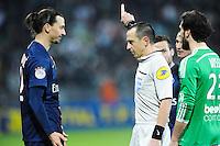 Zlatan IBRAHIMOVIC / Ruddy BUQUET - 25.01.2015 - Saint Etienne / PSG - 22eme journee de Ligue1<br /> Photo : Jean Paul Thomas / Icon Sport
