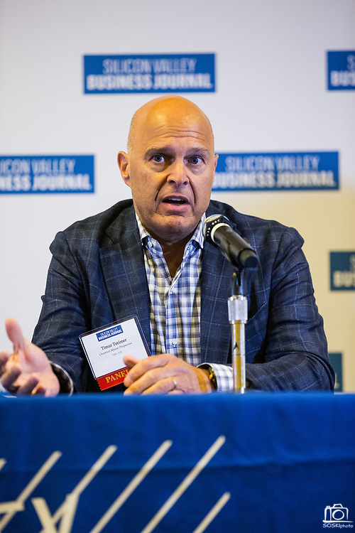 Timur Tecimer, CEO of Overton Moore Properties, talks during a panel discussion during the Silicon Valley Business Journal's Future of Fremont event at Fremont Marriott Silicon Valley in Fremont, California, on June 18, 2019.  (Stan Olszewski for Silicon Valley Business Journal)