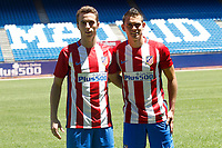Atletico de Madrid's new players Diogo Jota (l) and Santos Borre during their official presentation. July 14, 2016. (ALTERPHOTOS/Acero)