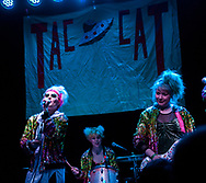 Emily Nokes, left, Lelah Maupin and Bree McKenna of Tacocat performing at the Constellation Room in Santa Ana, CA, April 19, 2017
