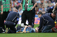 Cardiff Blues captain Paul Tito is treated on the pitch before being stretchered off with neck injury. Cardiff Blues v Harlequins , Heineken cup match at the Cardiff City Stadium on Sat 10th Oct 2009. pic by Andrew Orchard