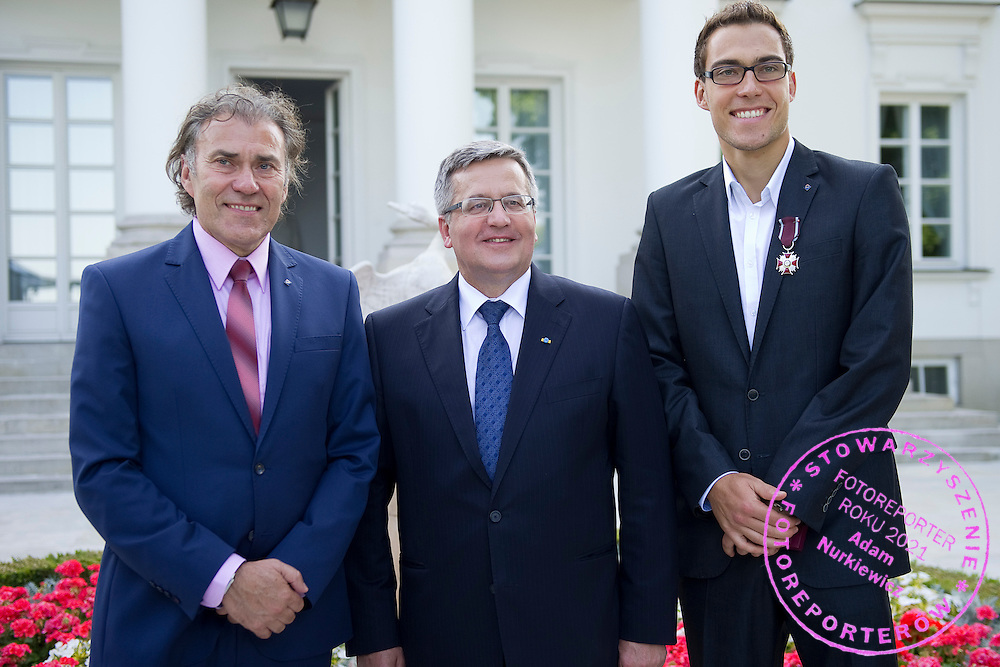 Jerzy Janowicz Senior (L) and Bronislaw Komorowski - President of Poland (C) and Jerzy Janowicz (R) during meeting in Belvedere Palace in Warsaw, Poland.<br /> <br /> Poland, Warsaw, July 08, 2013<br /> <br /> Picture also available in RAW (NEF) or TIFF format on special request.<br /> <br /> For editorial use only. Any commercial or promotional use requires permission.<br /> <br /> Photo by &copy; Adam Nurkiewicz / Mediasport