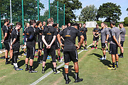 FGR squad is talked to by Forest Green Rovers manager, Mark Cooper during the first day back at training for Forest Green Rovers at the New Lawn, Forest Green, United Kingdom on 2 July 2018. Picture by Shane Healey.