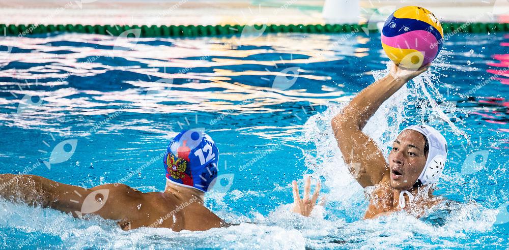 3 KAWAMOTO Shuma JPN <br /> USA (white cap) -  CRO (blue cap)<br /> Preliminary Round Water Polo Men<br /> Day04  17/07/2017 <br /> XVII FINA World Championships Aquatics<br /> Alfred Hajos Complex Margaret Island  <br /> Budapest Hungary <br /> Photo @ Deepbluemedia/Insidefoto