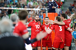 Players of Belgium celebrate during volleyball match between National teams of Slovenia and Belgium in 2nd Round of 2018 FIVB Volleyball Men's World Championship qualification, on May 28, 2017 in Arena Stozice, Ljubljana, Slovenia. Photo by Morgan Kristan / Sportida