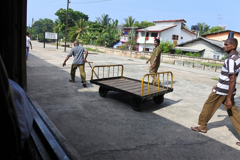 Going to unload a train in Sri Lanka
