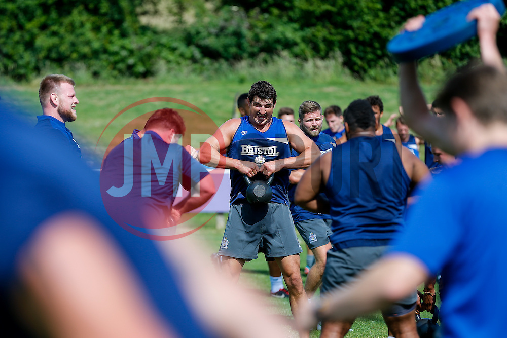 Mark Sorenson in action as Bristol Rugby return to training ahead of their 2015/16 Greene King IPA Championship campaign - Photo mandatory by-line: Rogan Thomson/JMP - 07966 386802 - 03/07/2015 - SPORT - RUGBY UNION - Bristol, England - Clifton Rugby Club.