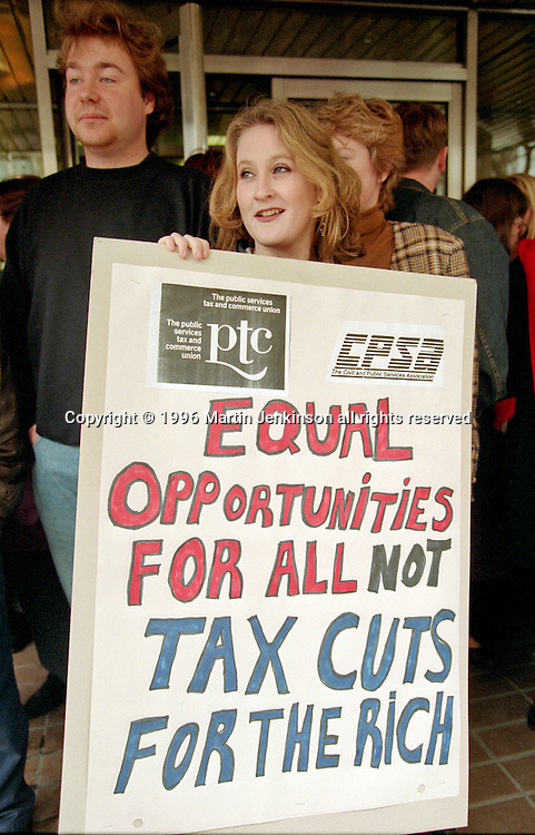 May Day Rally by staff at the EOC (Equal Opportunities Commission). Members of CPSA & PTC. Quay Street. Manchester 1/5/96