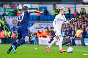 Leeds United defender Gjanni Alioski (10) in action during the EFL Sky Bet Championship match between Leeds United and Huddersfield Town at Elland Road, Leeds, England on 7 March 2020.