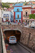 Tunnels lead to roadways located below the city of Guanajuato in Central Mexico