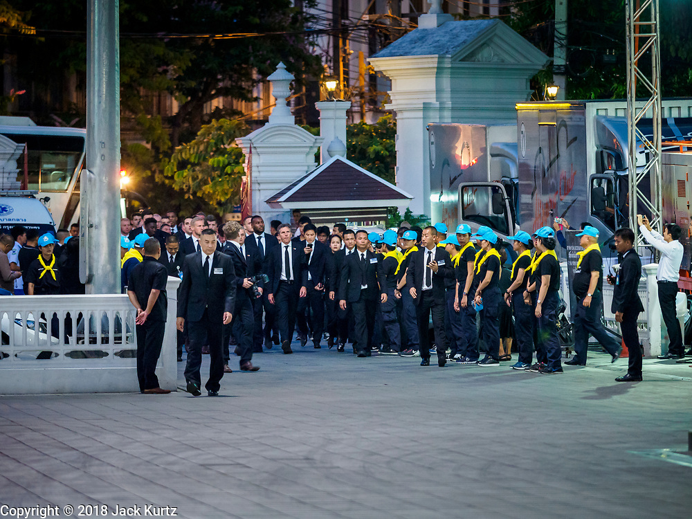 04 NOVEMBER 2018 - BANGKOK, THAILAND:   the funeral of Vichai Srivaddhanaprabha at Wat Debsirin on the second day of funeral rites for Vichai. Vichai was the owner of King Power, a Thai duty free conglomerate, and the Leicester City Club, a British Premier League football (soccer) team. He died in a helicopter crash at the King Power stadium in Leicester after a match on October 27. Vichai was Thailand's 5th richest man. The funeral is expected to last one week.   PHOTO BY JACK KURTZ