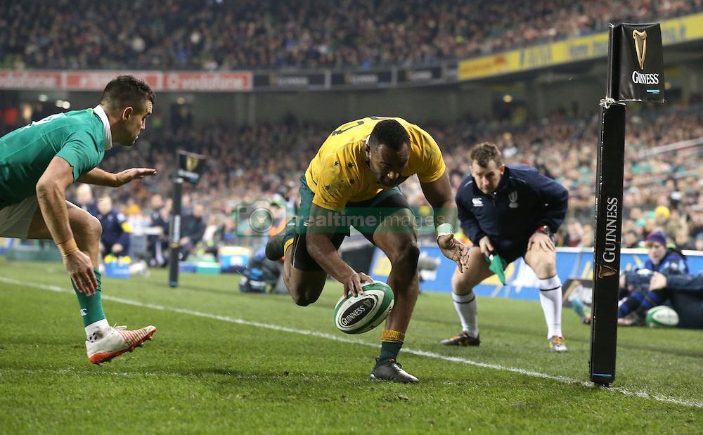 Australia's Tevita Kuridrani scores a try during the Autumn International match at the Aviva Stadium, Dublin.