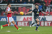Danny Graham (Blackburn Rovers) fires the ball forward during the EFL Sky Bet Championship match between Rotherham United and Blackburn Rovers at the AESSEAL New York Stadium, Rotherham, England on 11 February 2017. Photo by Mark P Doherty.