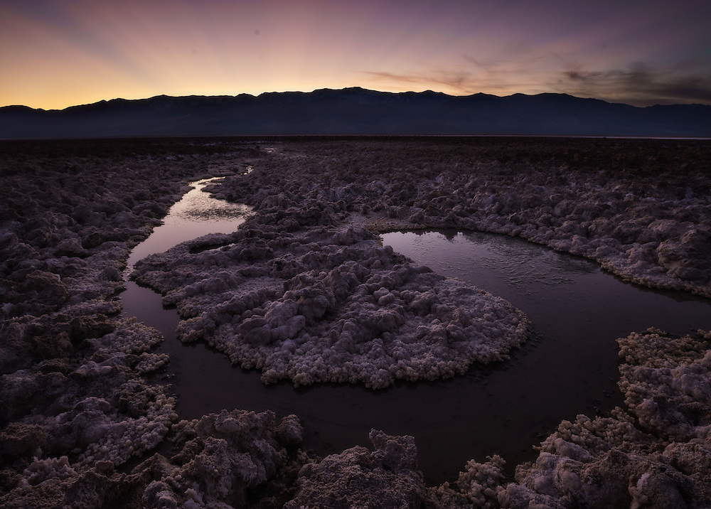 Twilight glow, badwater basin, Death Valley National Park, California, USA