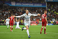 Torjubel Gareth BALE (Real Madrid) nach Tor zum 2-1,Aktion,Jubel,Freude,Begeisterung, Fussball Champions League Finale 2018 / Real Madrid-FC Liverpool 3-1, Saison2017/18, am 26.05.2018, Stadion NSK Olimpiyskyi *** Torjubel Gareth BALE Real Madrid After Goal to 2 1 Action Cheers Joy Excitement Soccer Champions League Final 2018 Real Madrid Liverpool 3 1 Season2017 18 at 26 05 2018 Stadium NSK Olimpiyskyi