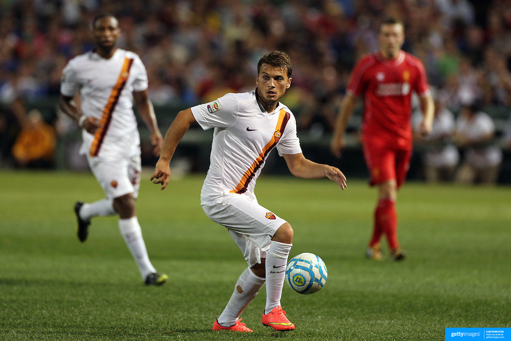 Adem Ljajic, (left), AS Roma, in action during the Liverpool Vs AS Roma friendly pre season football match at Fenway Park, Boston. USA. 23rd July 2014. Photo Tim Clayton