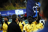 Fotball<br /> Adeccoligaen<br /> Stabæk v Bodø/Glimt 1:1<br /> 03.11.2013<br /> Foto: Morten Olsen/Digitalsport<br /> <br /> Papa Alioune Ndiaye - Bodø/Glimt - med Kniksenprisen for Adeccoligaen