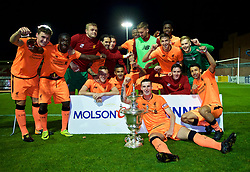 LEYLAND, ENGLAND - Friday, September 1, 2017: Liverpool's captain Corey Whelan with the trophy after beating Fleetwood Town on penalties to win the Lancashire Senior Cup Final match between Fleetwood Town and Liverpool Under-23's at the County Ground. Bobby Adekanye, goalkeeper Andy Firth, Danny Ings, Harry Wilson, Mich'el Parker, goalkeeper Caoimhin Kelleher, Paulo Alves, Yan Dhanda, George Johnston. (Pic by Propaganda)