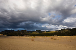 Storm clouds form over the Sangre de Cristo Mountains as viewed from the sand along Medano Creek.  Great Sand Dunes National Park and Preserve contains the tallest sand dunes in North America. The Dunefield, topping off with Star Dune at 750 feet, is created by sand trapped by the nearby Sangre de Christo Mountains (larger rougher grains and pebbles) and the San Juan Mountains (65 miles to the west).  Waterways such as Medano Creek help carry the sediment down to the San Luis valley where the dunes are found. Great Sand Dunes National Park and Preserve, Mosca, Colorado.