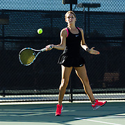 10 November 2017:  The San Diego State Aztecs women's tennis team hosts it's annual Fall Classic II. Berta Acero seen here returning a serve during a doubles match Friday morning. <br /> www.sdsuaztecphotos.com