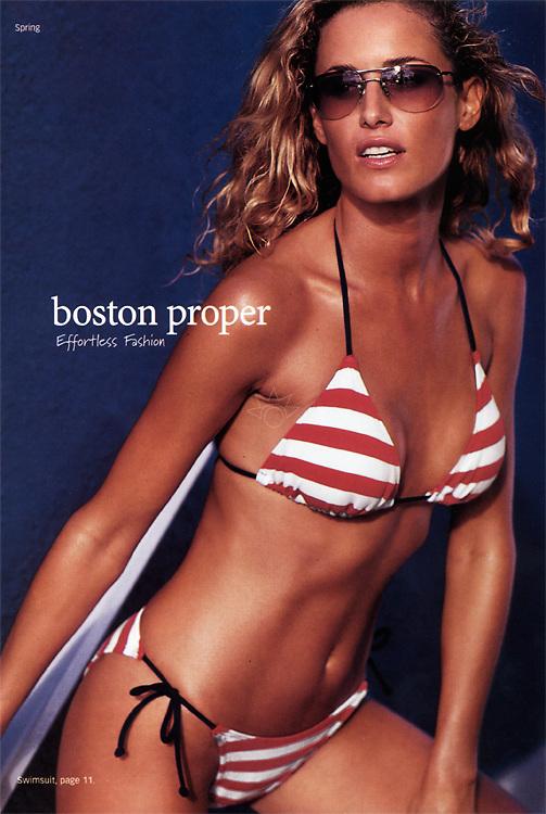 Image of Silvina in a red and white striped bikini swimsuit for Boston Proper.