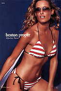 Image of Silvina in a red and white striped bikini swimsuit for Boston Proper.