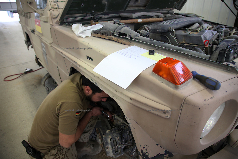 Repair and inspection service of a logistic and support battallion of the german army inside Camp Marmal, Mazar-e Sharif, Afghanistan.