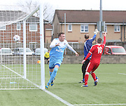 Fairfield's Barry Hegarty races away to celebrate after firing his side into a 2-1 lead - Harvester v Fairfield - Fosters Scottish Sunday Trophy semi final<br /> <br />  - &copy; David Young - www.davidyoungphoto.co.uk - email: davidyoungphoto@gmail.com